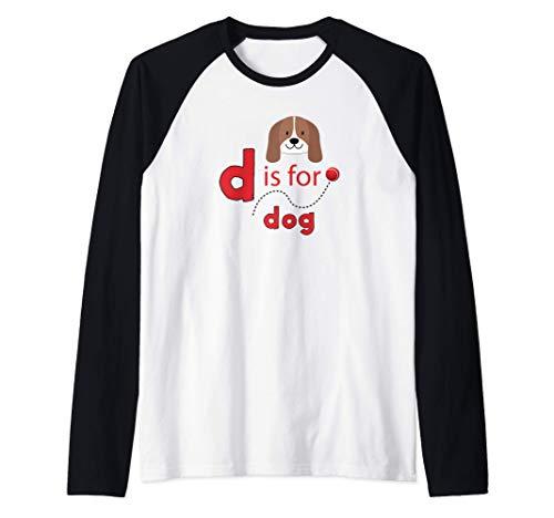 D es para diseño de pelota de tenis para perros Camiseta Manga Raglan