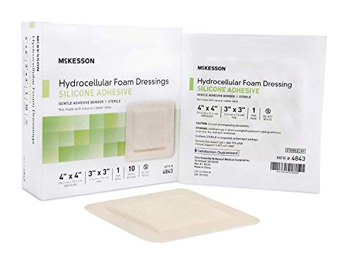 McKesson Hydrocellular Foam Dressing Silicone Adhesive Border 4 X 4
