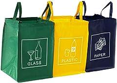 TRESKO Set de 3 Bolsas para Reciclar Basura   Sistema de Reciclaje para Vidrio, plástico y Papel