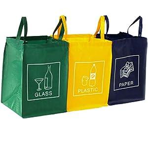 TRESKO Set de 3 Bolsas para Reciclar Basura | Sistema de Reciclaje para Vidrio, plástico y Papel