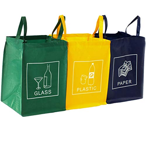 TRESKO Set de 3 Bolsas para Reciclar Basura | Sistema de Rec