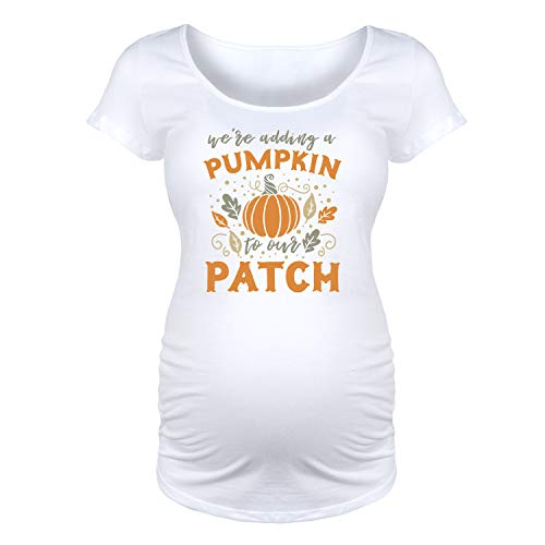We're Adding A Pumpkin to Our Patch - Maternity Scoop Neck T-Shirt White