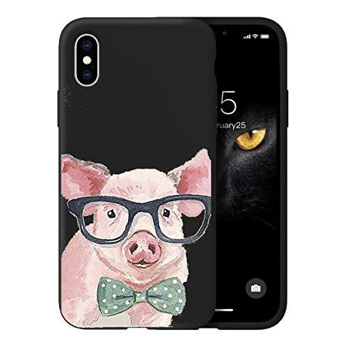 Oihxse Ultra Mince Silicone Case Compatible pour iPhone 11 Coque Souple Mignon Gommage Protection Housse Creatif Motif Bumper Etui Doux Antichoc Cover(Noir-Cochon)