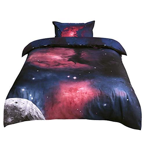 sourcingmap 2-piece Galaxies Fuchsia Comforter Duvet Cover Sets - 3D Printed Space Themed - All-season Reversible Design - Includes 1 Duvet Cover, 1 Pillow Sham