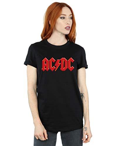 ACDC Mujer Red Logo Camiseta del Novio Fit Negro XX-Large