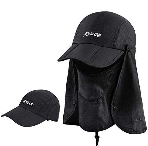 icolor Sun Cap Fishing Hats Outdoor UPF 50+ Folding Sun Protection with Neck and Face Flap Cover