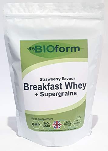 Breakfast Whey Protein + Supergrains - Strawberry Flavour - 1kg - 14 Servings - 23g Protein per Serving - UK Manufacturer