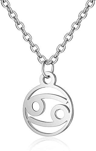 Collar de Acero Inoxidable Collar de astrología Zodiaco Mujeres 12 constelación horóscopo Oro Pareja Collares Hombres joyería niñas Regalo