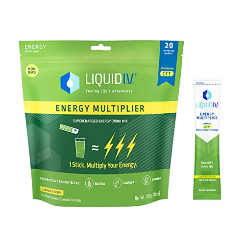 Liquid I.V. Energy Multiplier, 20 count,Super-Charged Matcha Mix, 9 Essential Vitamins, Natural Caffeine, Easy Open Packets, Supplement Drink Mix,Lemon Ginger (Packaging May Vary)
