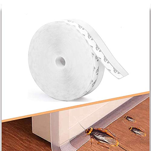 Warckon Door Weather Stripping,33 Ft Silicone Seal Strip Adhesive for Doors and Windows Insulation Bottom and Side Gap,Transparent (25mm)