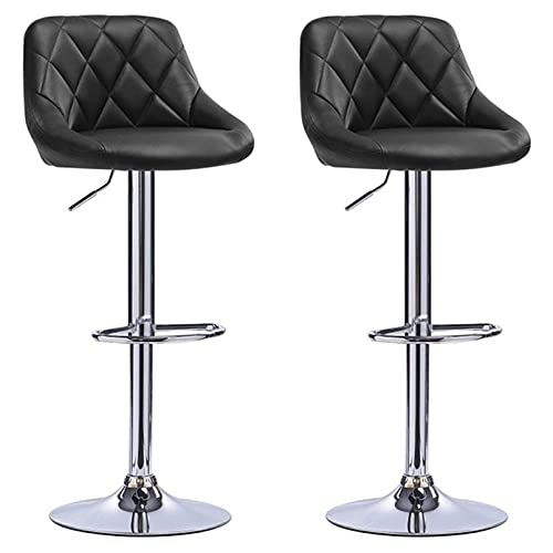 2Pcs/set Bar Chair Modern Fashion Soft Kitchen Living Room Chairs Adjustable Lifting With Footrest BarStools Funiture (Color : Black)