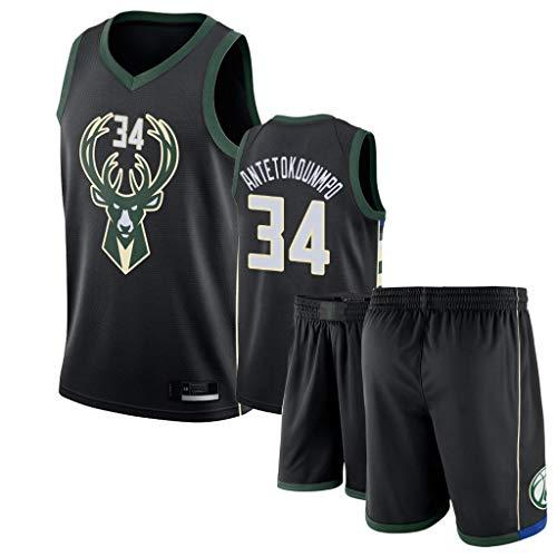 XYEU Herren The Alphabet Antetokounmpo Bucks # 34 Basketball-Trikot-Set, zweiteiliges Basketball-Performance-Tanktop und Shorts-Set, Stick-Trikot (S-2XL)-L