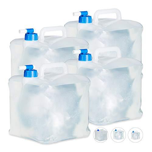 Relaxdays Faltkanister 4er Set, 10 l, Hahn, Schraubdeckel, Griff, Wasserkanister Camping, BPA-frei, transparent/blau