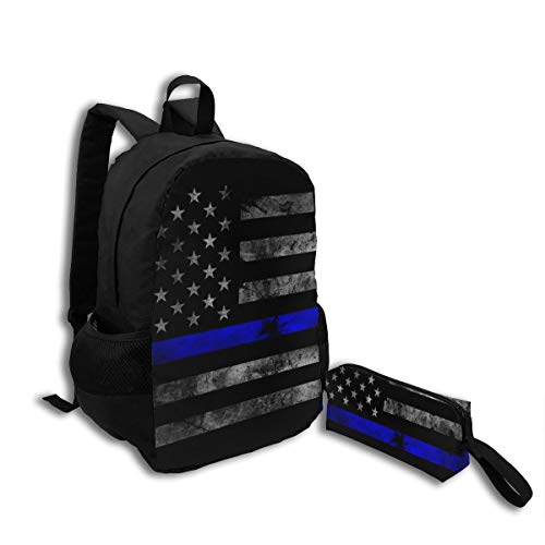 Oswz American Thin Blue Line Flag Travel Backpack Insulated Soft Lunch Cooler for Men Women, Best for Picnic, Hiking, Travel, Beach, Sports, Work