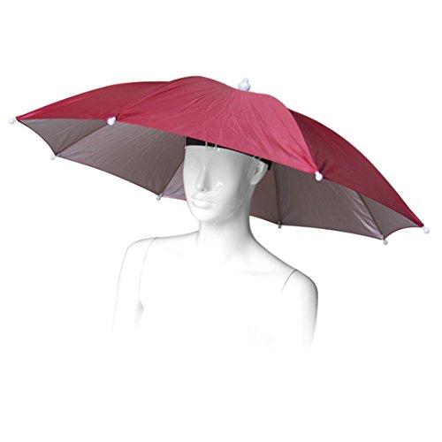 sourcing map Regenschirm Hut Schirmhut Sonnenschirm hut Kopfschirm Mütze mit Schirm für Golf/Angeln/Camping Rot