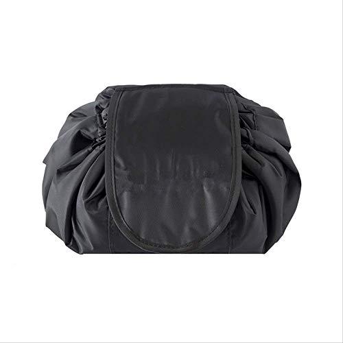 Sac à cosmétiques noir de grande capacité, sac de rangement imperméable à l'eau de voyage, à cordon de serrage, pochette multifonctionnelle