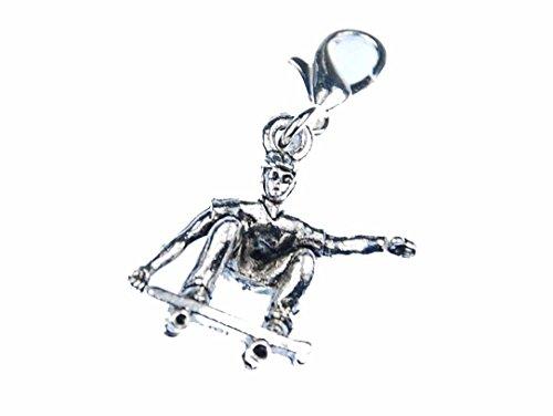 Miniblings Skateboarder Charm Skaten Skateboard Silber - Handmade Modeschmuck I Kettenanhänger versilbert - Bettelanhänger Bettelarmband - Anhänger für Armband