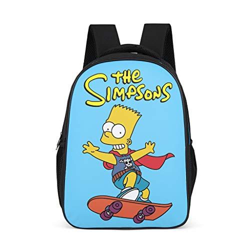 Unisex Kinder Schulrucksack The Simpsons Skateboarding Junge Kinderrucksack Rucksaecke Große Backpack Wanderrucksack für Baby Jungen Mädchen Bright Gray OneSize