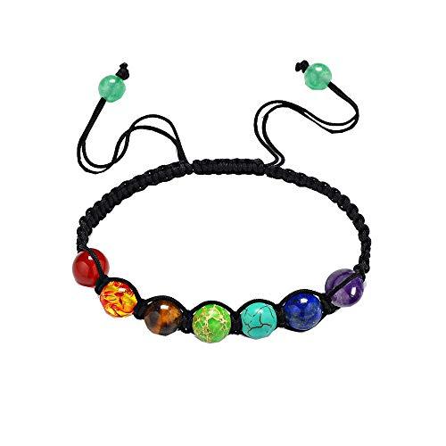 HIJONES Unisex Schmuck 7 Chakra Perlen 6mm Regenbogen Stein Gebet Gleichgewicht Heilende Energie Armband