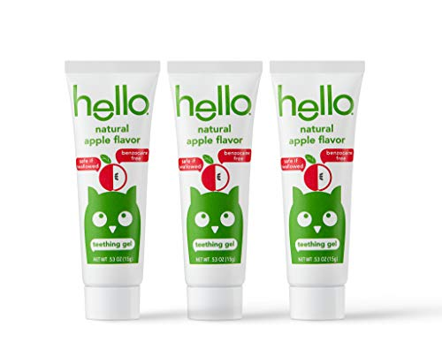 Hello Baby Teething Gel with Natural Apple Flavor, 3 Count   No Benzocaine or Artificial Flavors, Fluoride Free