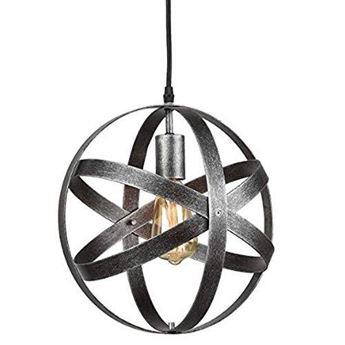 XYZMDJ Chandeliers- iluminación Pendiente Pendiente de la luz Candiles, Modern Industrial Hierro Forjado Metal geométrico Pendiente de la lámpara, Cadena Ajustable, Negro Acabado