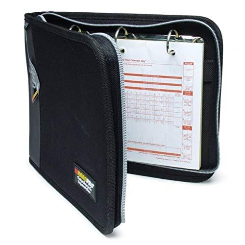 """RoadPro LB-001BK Black 10.5"""" x 8.5"""" 3-Ring Zippered Binder for Loose-Leaf Log Sheets"""