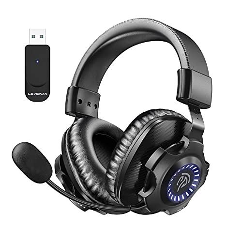 Auriculares Gaming Inalambricos PS4, PS5, LEVEWAN V07W 2.4G Cascos Gaming Inalambricos 7.1 Sonidos Estéreo con 7.1 Soindos, Microfóno, RGB LED, y Control de Volumen para PS4, PS5, PC y Mac