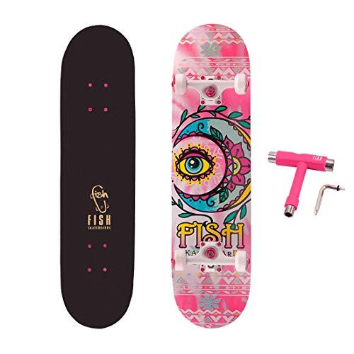 FISH SKATEBOARDS Standard Skateboard, Complete Skateboard 31''x 8'', 7...