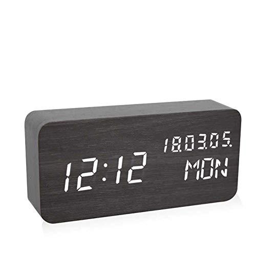 Homieco Digitalwecker mit elektronischer LED-Anzeige für die drahtlose Ladezeit aus Holz, Einstellbarer Helligkeit, sprachgesteuerten Uhren für Schlafzimmer und Nachttisch