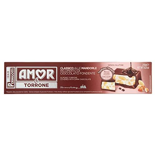 Pernigotti, Torrone Amor Classico, Ricoperto di Cioccolato Fondente, Senza Glucosio e Fruttosio, con Miele e Mandorle, 250 gr