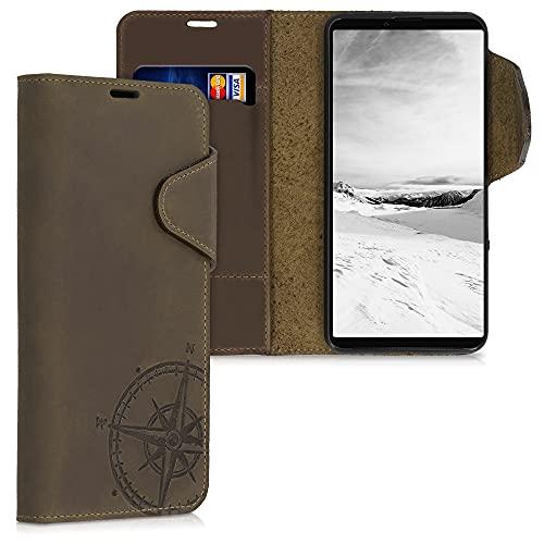 kalibri Wallet Hülle kompatibel mit Sony Xperia 10 III - Hülle Leder - Handy Cover Handyhülle Kompass Vintage Braun