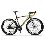 WANYE Bicicleta De Carretera 700c Bicicleta De Carreras Bicicleta De Cercanías De Ciudad De Aluminio con 21/27 Velocidades Rojo 49CM yellow-21 Speed