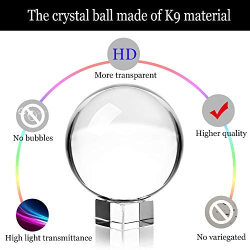 "Photograph Crystal Ball with Stand and Pouch, K9 Crystal Suncatchers Ball with Microfiber Pouch, Decorative and Photography Accessory (80mm/3.15"" with Gift Box)"