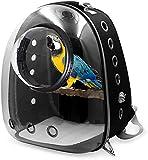 MGPLBYA Mochila portadora de Mascotas, Pet Travel Bagbird Portador, Parrot Carrier Mochila Viaje Jaula de Viaje Pájaros Transparente Transparente Cápsula (Color : Black)