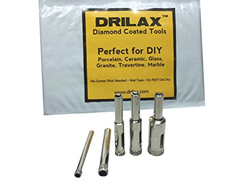 Drilax Diamond Drill Bit Set 3/16, 1/4, 5/16, 3/8, 1/2 Inch Drilling Tile Glass Fish Tank Granite Ceramic Porcelain 5 Pieces Pack