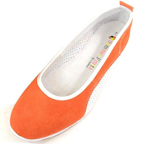 SNUGRUGS Damen/Damen Leder/Wildleder Sommer Slip On Ballett Pumps/Flats Schuhe, Orange - Orange - Größe: 40 EU