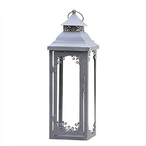 Laterne Brienne grau aus Metall mit Verzierungen Landhausstil Shabby chic