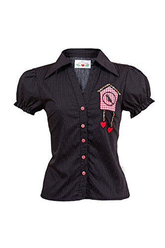 mein herzblut Trachten Bluse schwarz gepunktet mit Kuckucksuhr-Applikation Gr. 34-44 (XS, schwarz)
