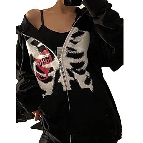 wdehow Y2K - Sudadera con capucha para mujer con capucha de manga larga con estampado gótico de mariposa, estilo informal, ligero, # Black Skeletons, M