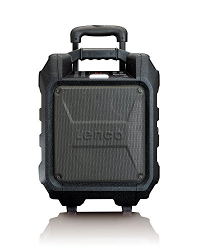 Lenco PA-60 PA-Anlage, mobil mit Akku und Bluetooth (USB, AUX, Mikrofon-Anschluss, UKW-Radio, 35 Watt RMS), schwarz