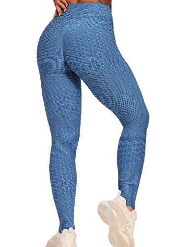 FITTOO Leggings Push Up Mujer Mallas Pantalones Deportivos Alta Cintura Elásticos Yoga Fitness #1 Azul L