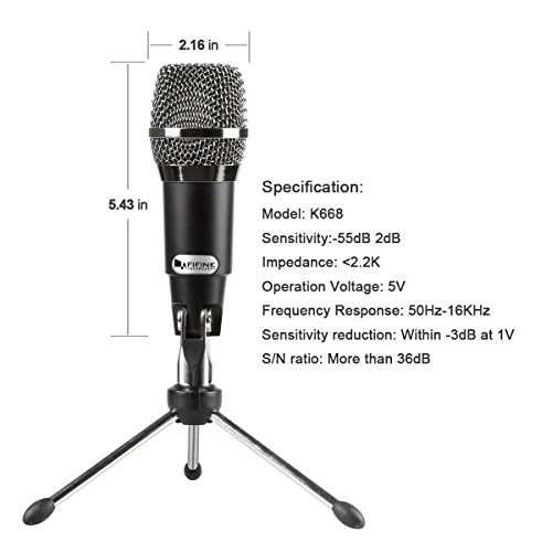 USB Microphone, FIFINE Plug and Play Home Studio USB Condenser Microphone for Skype, Recordings for YouTube, Google Voice Search, Games-Windows and Mac-K668