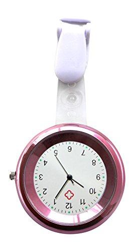 Ellemka - Krankenschwester Damen Herren Unisex   Taschenuhr Ansteckuhr Analog   Digitales Quarzwerk   Hängeband mit Clip in ABS Kunststoff   JCM-2103 NN H+ - Pink Rosa