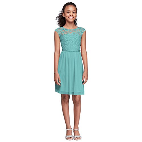 Cap Sleeve Lace and Mesh Girls Dress Style JB9477, Spa, 6