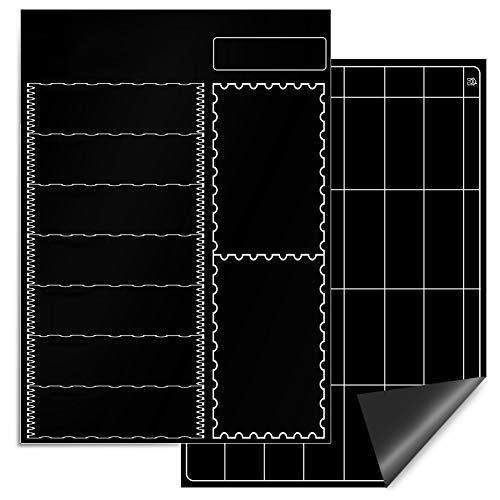E-More Calendario Magnético para Nevera, 2piezas A3 Planificador de Frigorífico Magnético para Cocina con Borrador y 8 Lápiz Colorido,Ideal Planificador de Menú,Recordatorio,Lista de la Compra,Negro