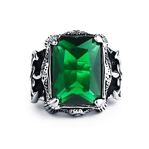 Valily Dragon Claw Ring für Männer Silber Edelstahl riesige 35 Karat Feuer Imperial Green Smaragd Stein mittelalterlichen Achsen Gothic Ring Größe 67