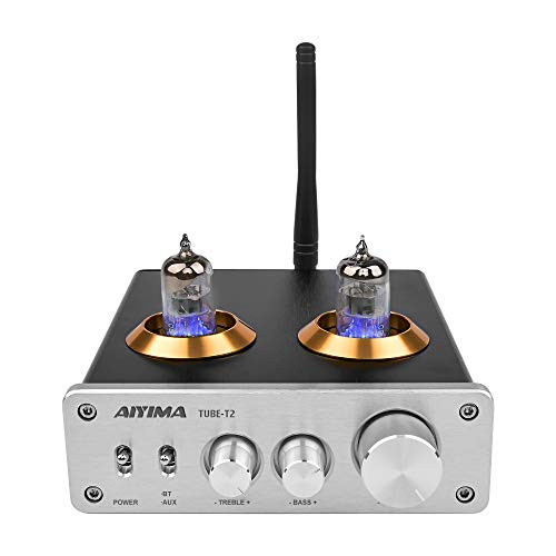 AIYIMA Tube T2 Audio 6J1 Preamplifier Bluetooth 5.0 HiFi Vacuum Tube Preamp with Treble & Bass Adjust DC12V Audio Preamp for Home Audio Amplifier Theater System+DC 12V Power Adapter(Silver)