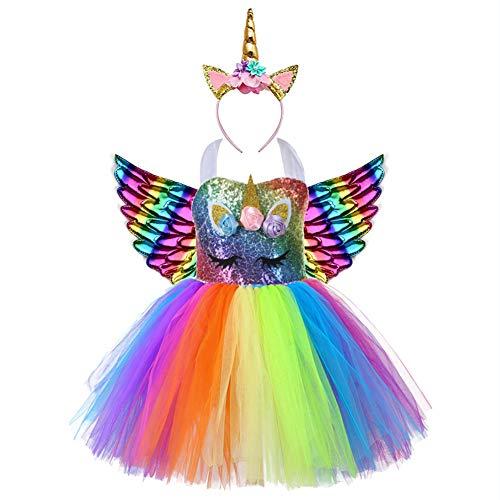 AJEUNGAIN Disfraz Unicornio Niña para Fiesta de Cumpleaños, Lentejuela Disfraz Princesa Unicornio Niña, Disfraz Vestido Unicornio, Vestido Tutú para Niñas de Flores Arcoíris