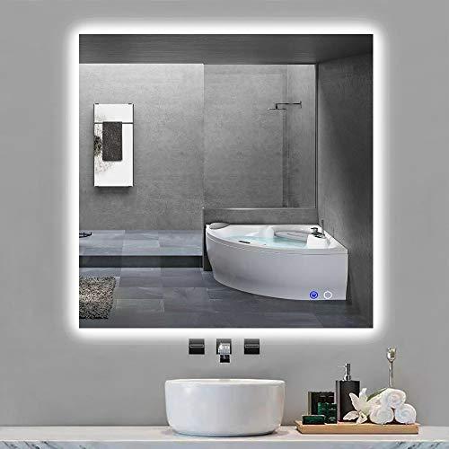 "Keonjinn 36"" x 36"" LED Backlit Mirror Bathroom Square Makeup Mirror Anti-Fog -"