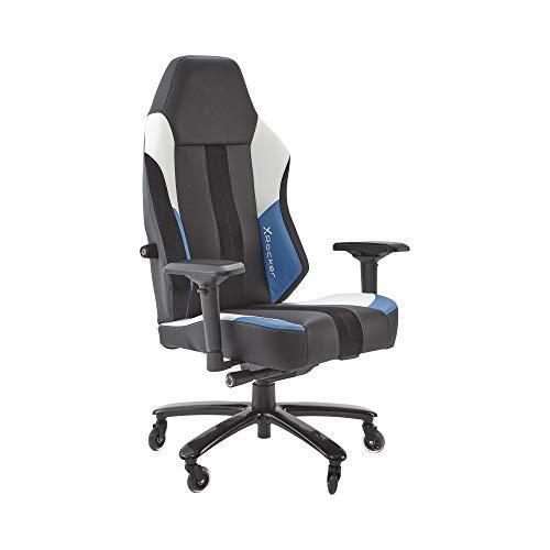 X-Rocker Unisex– Erwachsene Echo Esports Gaming-Stuhl mit ultimativem Phasenwechsel-Komfort 5135101, Schwarz/blau/weiß, Universell